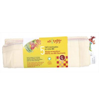 5 Sacchetti riutilizzabili in cotone biologico per alimenti - Misura L - ah-tablè
